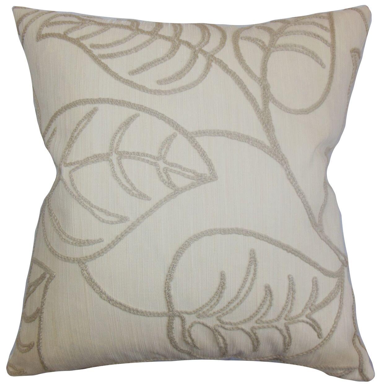 Dametta Floral Floor Pillow Color: Linen