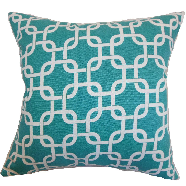 Burkholder Geometric Floor Pillow Color: Turquoise