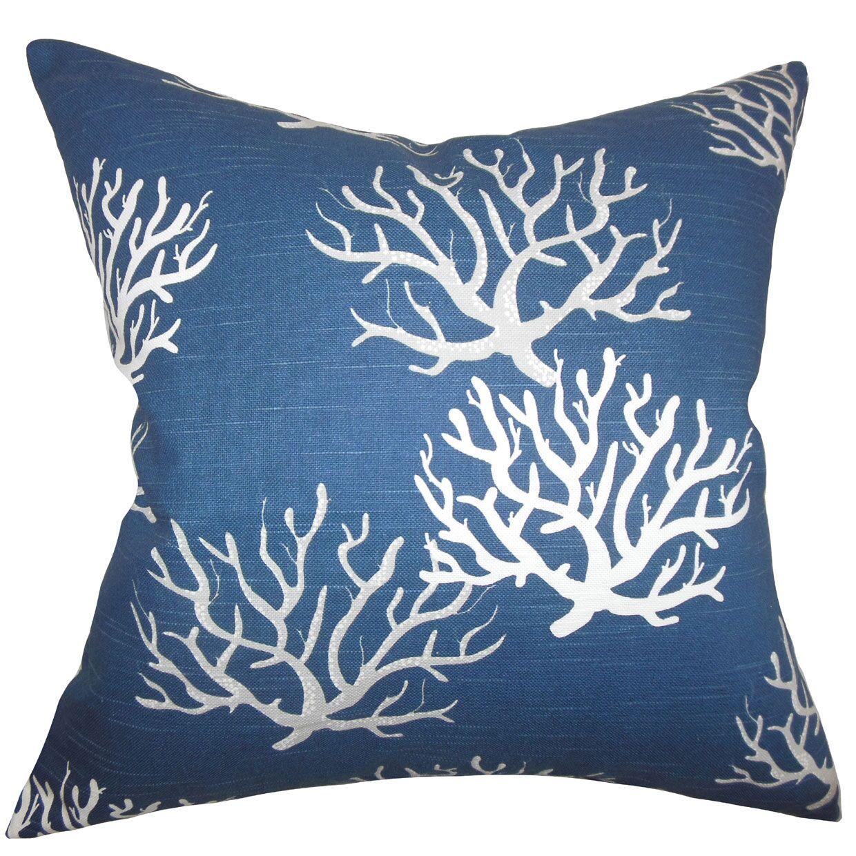 Lexford Coastal Floor Pillow Color: Navy Blue