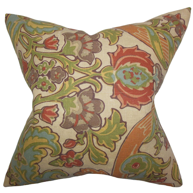 Delroy Floral Floor Pillow Color: Green/Brown