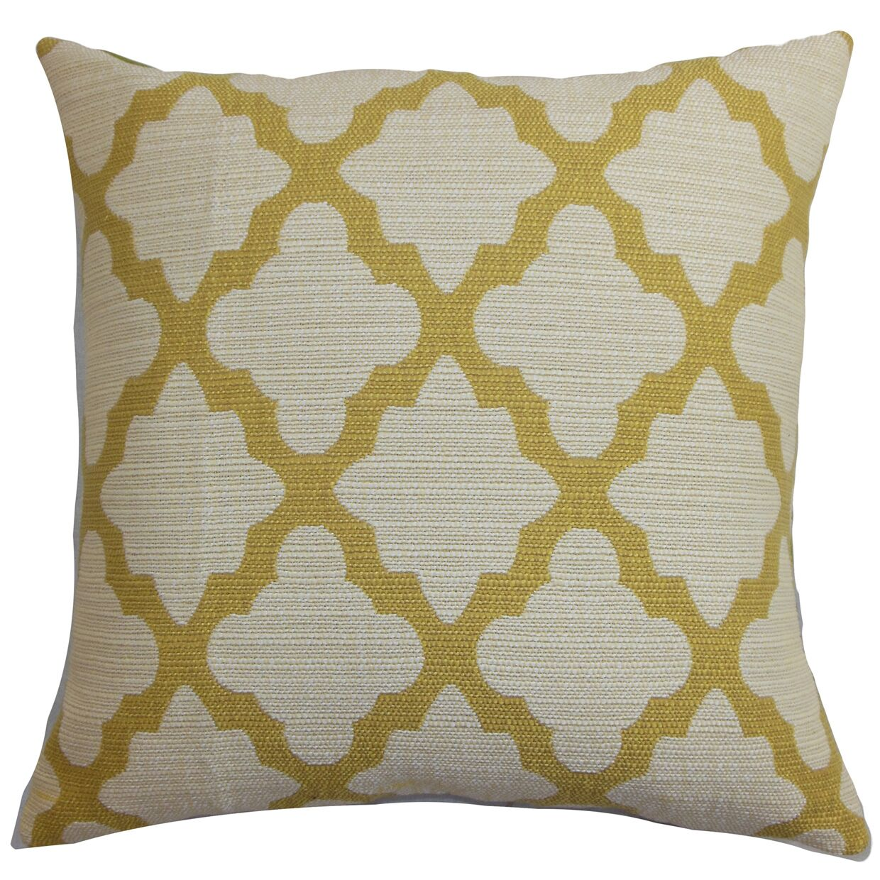 Bernette Geometric Floor Pillow Color: Yellow/Natural