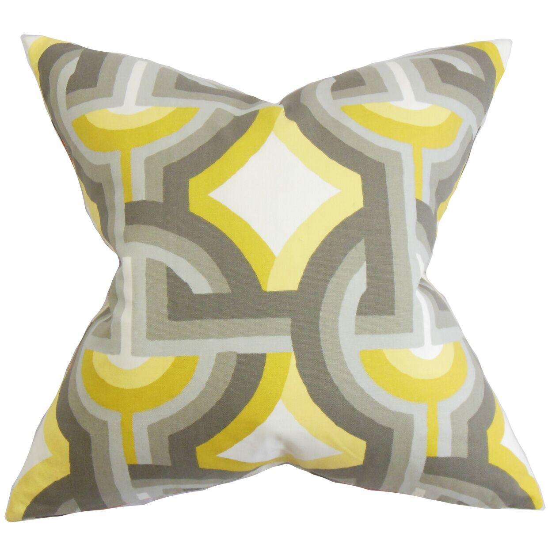 Westerlo Geometric Floor Pillow Color: Gray/Yellow