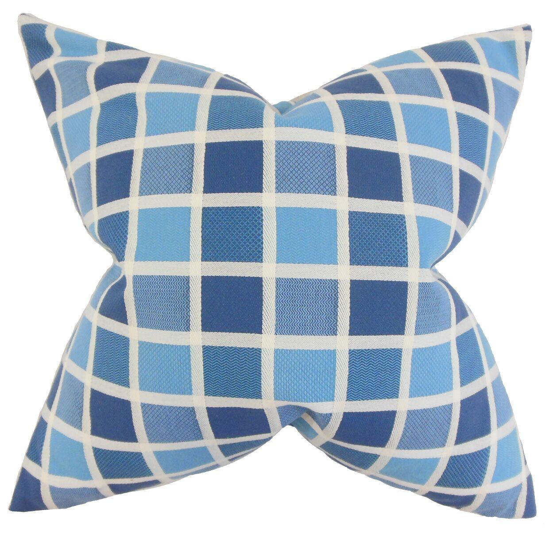 Montes Geometric Floor Pillow Color: Blue