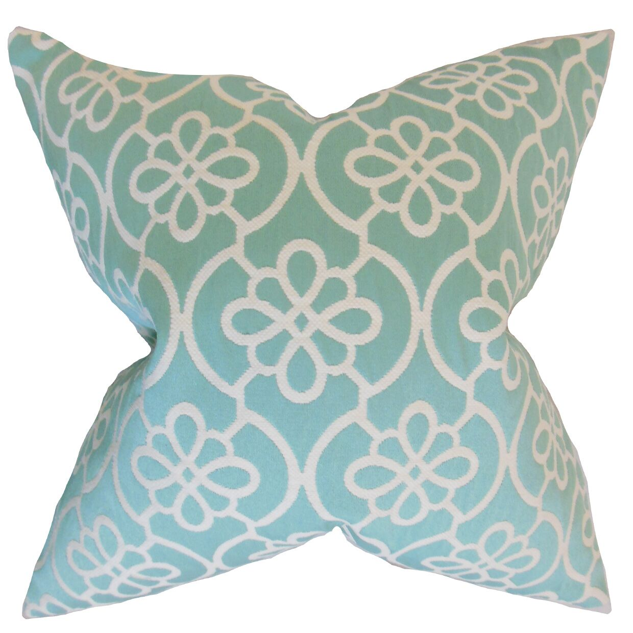 Chaplain Geometric Floor Pillow Color: Caribbean Blue