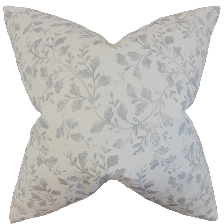 Everette Foliage Floor Pillow Color: Silver