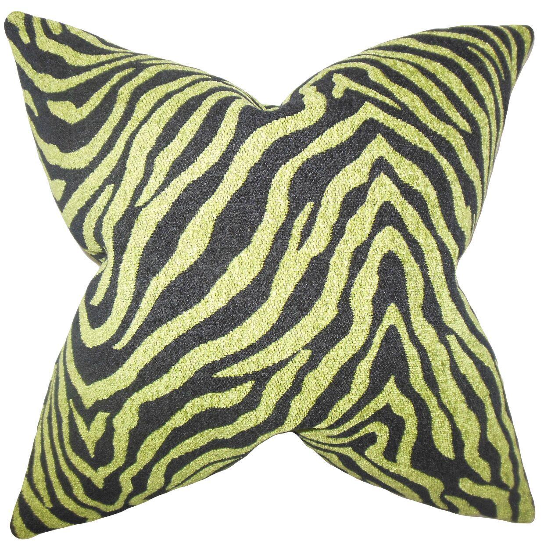 Delrick Zebra Floor Pillow Color: Green