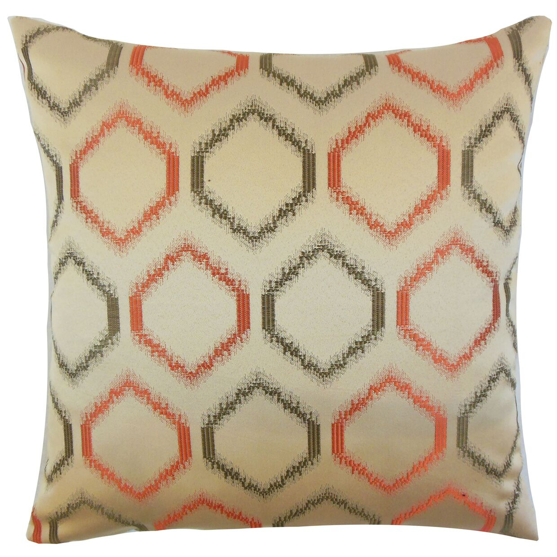 Hudgens Geometric Floor Pillow Color: Orange