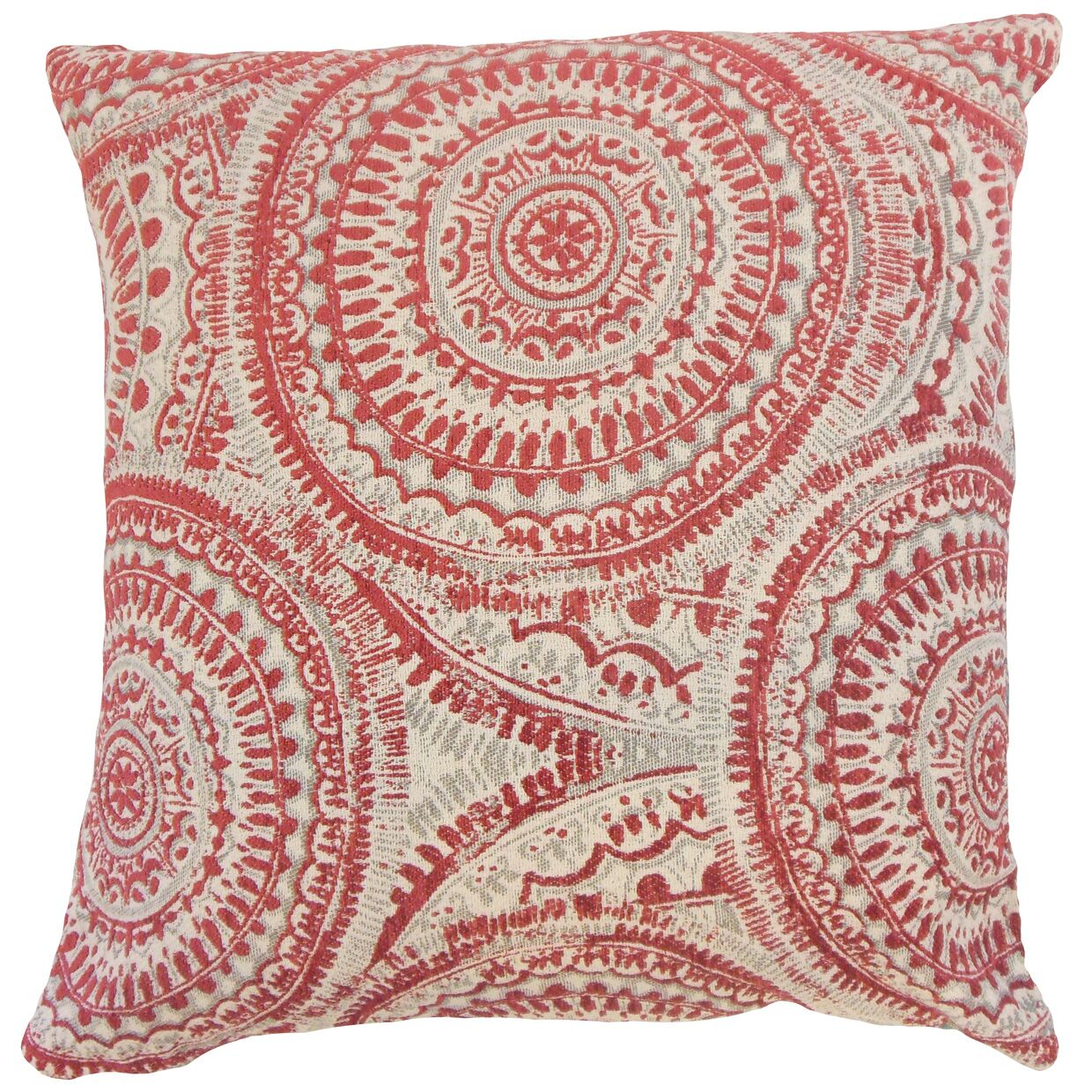 Caila Graphic Floor Pillow Color: Cherry