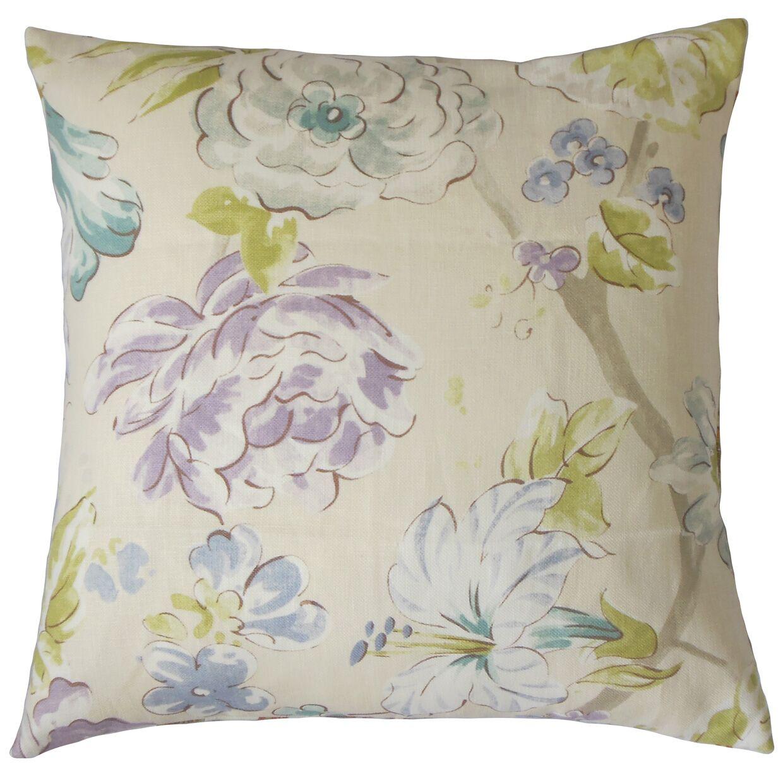 Sage Floral Floor Pillow Color: Blue Green