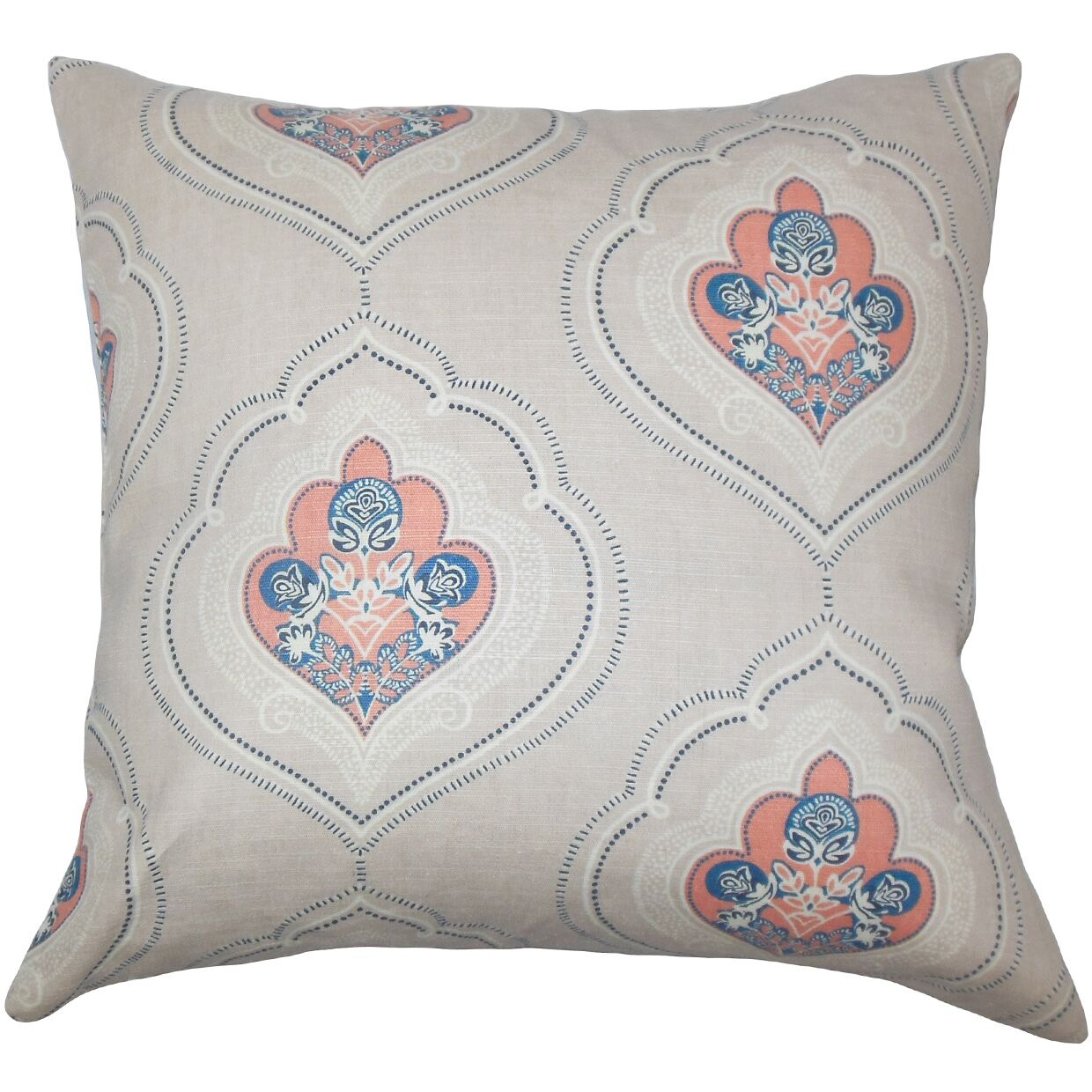 Beauford Floral Floor Pillow Color: Coral