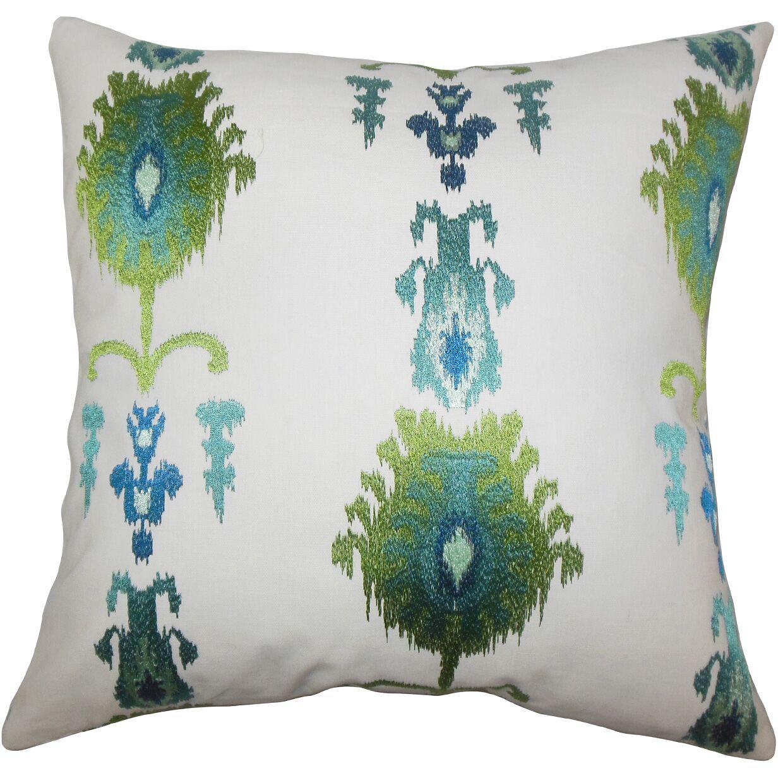 Dulce Ikat Floor Pillow Blue Color: Blue Green