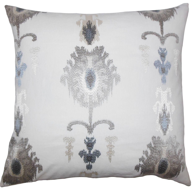Dulce Ikat Floor Pillow Blue Color: Platinum