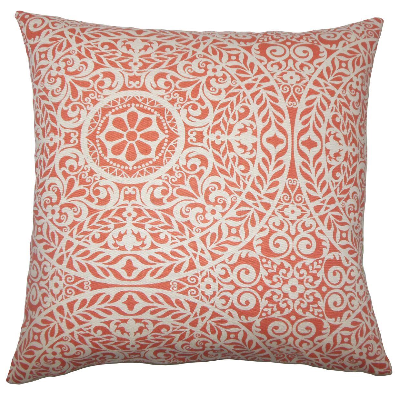 Apolline Damask Floor Pillow Color: Mango
