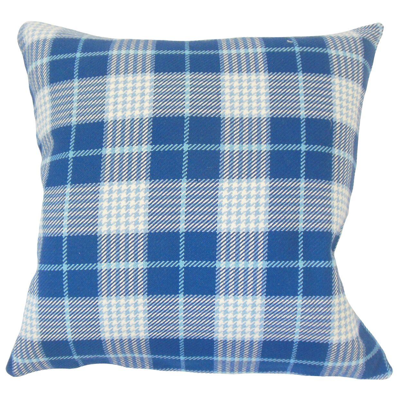 Patricia Plaid Floor Pillow Color: Blue