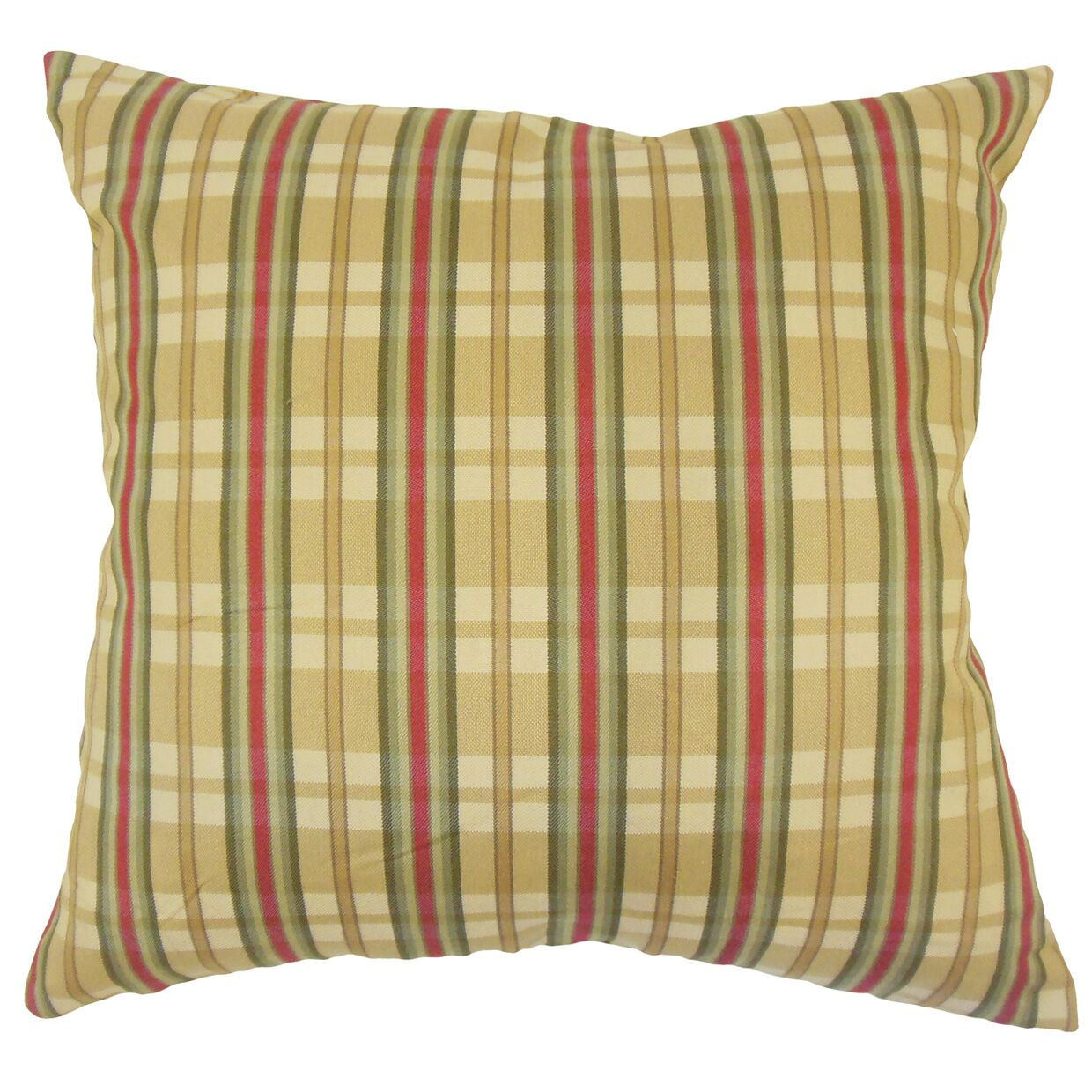Jacobsen Traditional Plaid Down Filled 100% Cotton Throw Pillow Size: 18