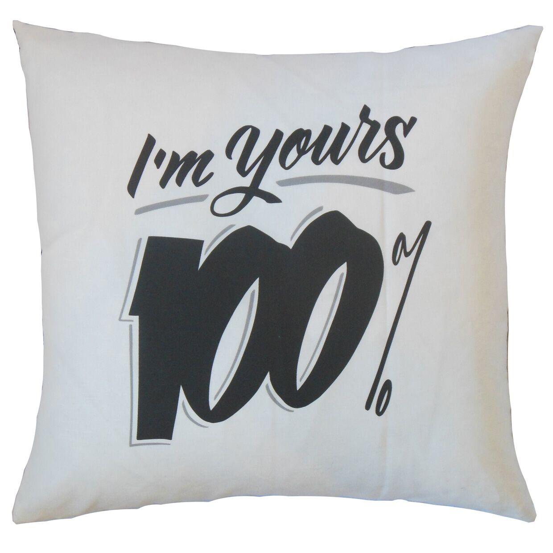 Dunmire I'm Yours Text White Floor Pillow
