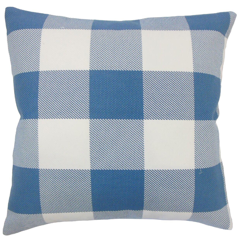 Sabrina Plaid Floor Pillow Color: Blue