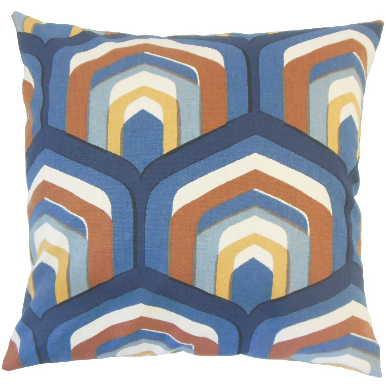 Jarrett Geometric Floor Pillow Color: Cognac