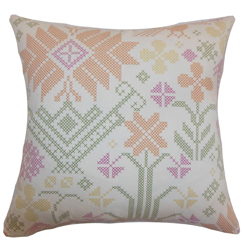 Dori Cross Stitch Cotton Throw Pillow Color: Summer, Size: 22