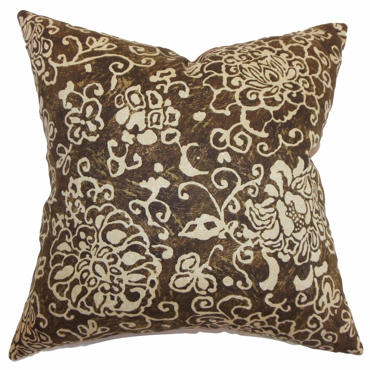 Jaffna Floral Throw Pillow Color: Chocolate, Size: 24