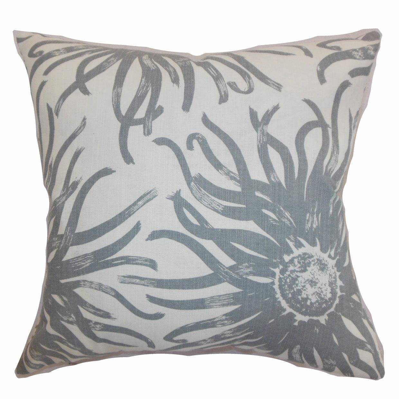 Ndele Floral Bedding Sham Size: Euro, Color: Gray