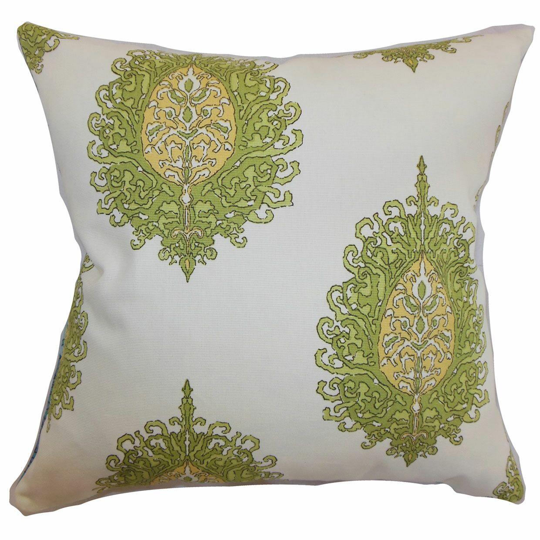 Perigueux Damask Cotton Throw Pillow Color: Leaf, Size: 22