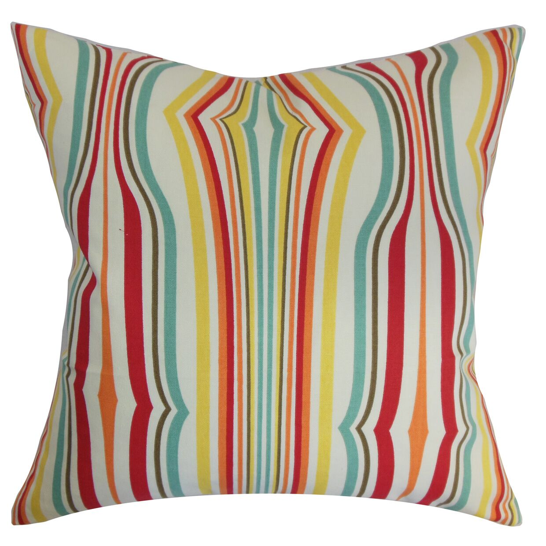 Cachoiera Stripes Cotton Throw Pillow Color: Carnival, Size: 24
