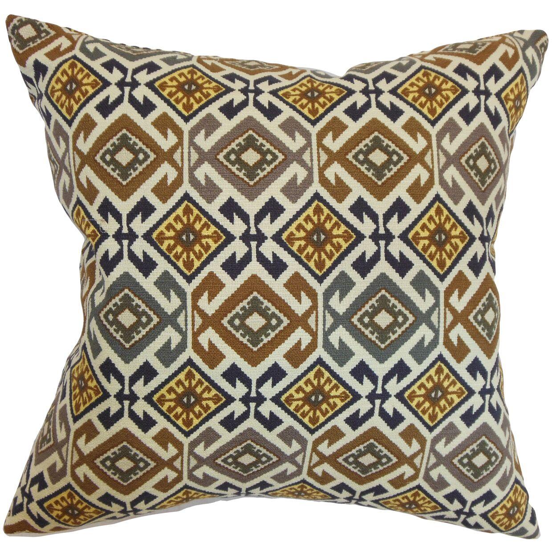 Ealhhun Moorish Cotton Throw Pillow Color: Black / Brown, Size: 22