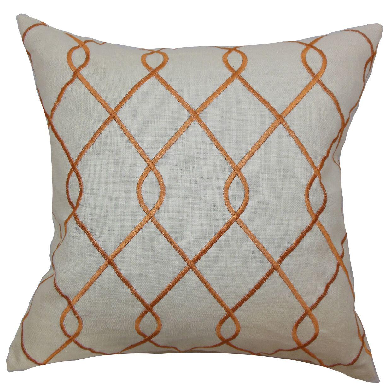 Jolo Geometric Linen Throw Pillow Color: Rico Papaya, Size: 22