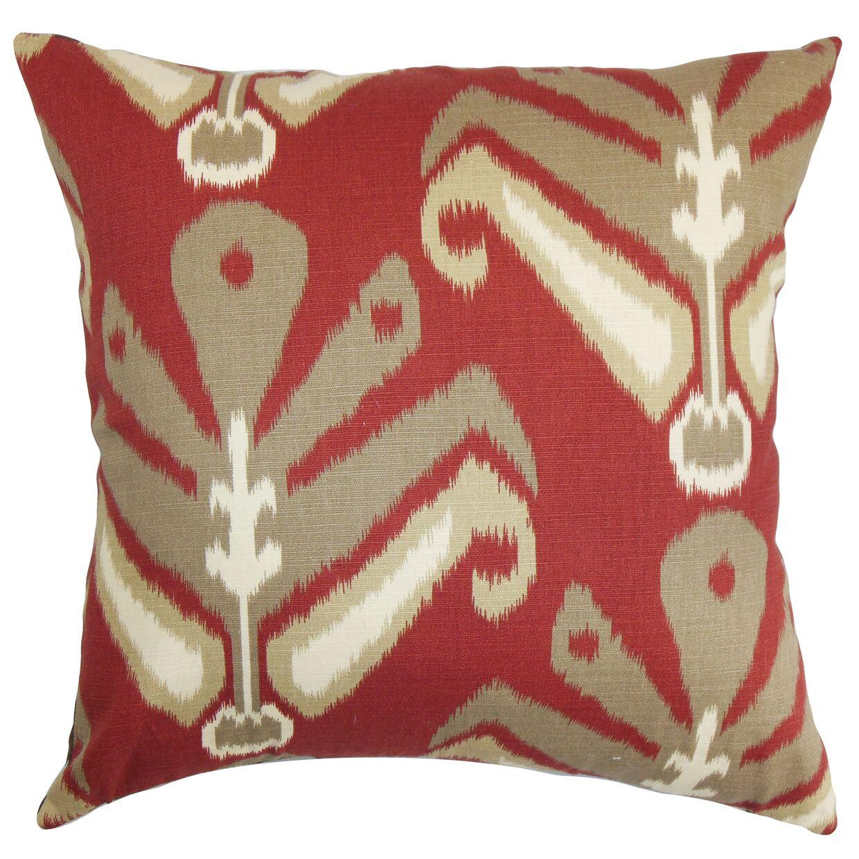 Sakon Ikat Bedding Sham Size: Queen, Color: Red/Brown