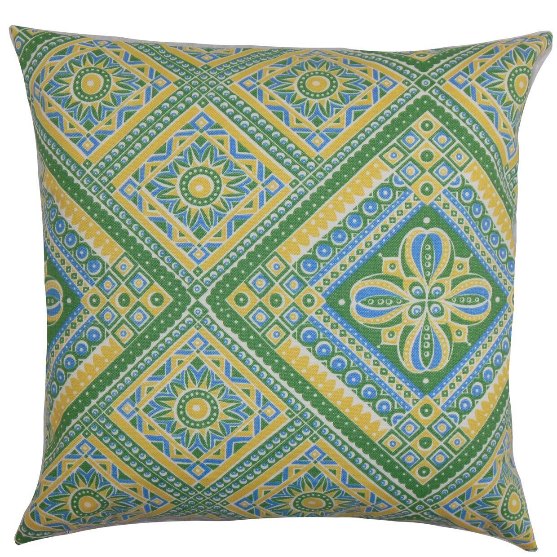 Delancy Geometric Bedding Sham Size: King, Color: Green/Yellow