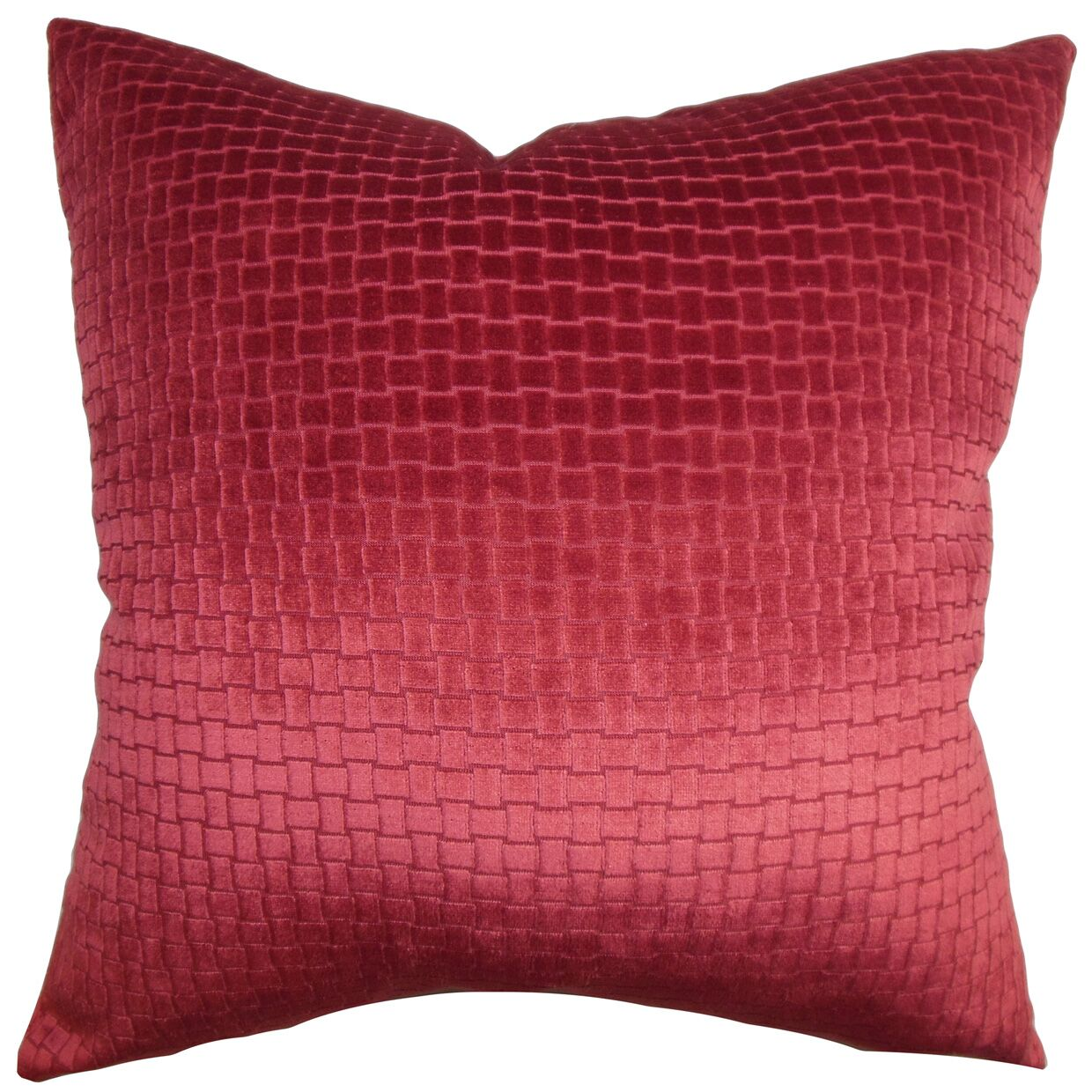 Brielle Solid Velvet Throw Pillow Color: Cranberry, Size: 20