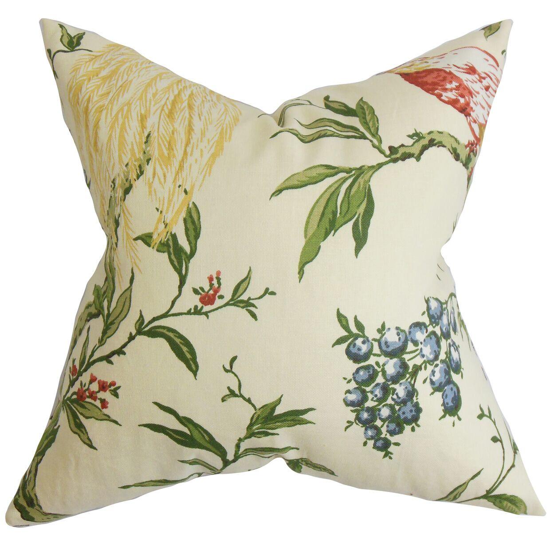 Jennifer Floral Bedding Sham Size: Standard, Color: Green/White