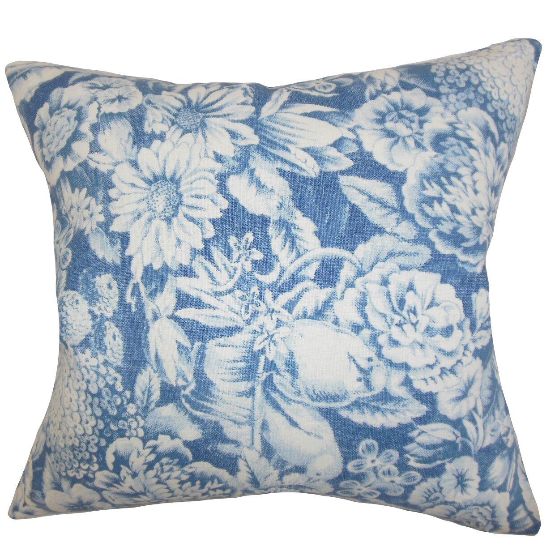 Elspeth Floral Linen Throw Pillow Color: Blue, Size: 24