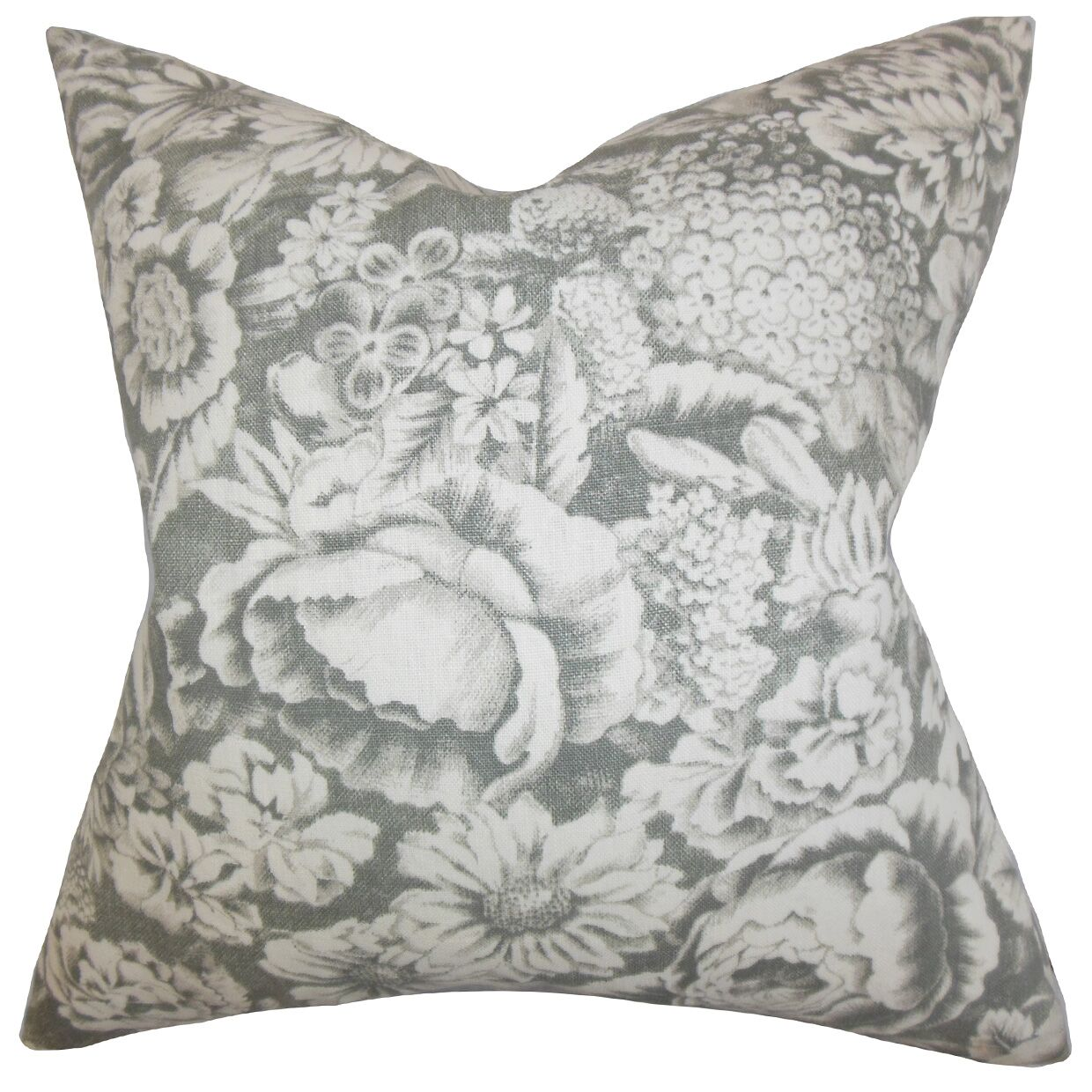 Elspeth Floral Linen Throw Pillow Color: Gray, Size: 20