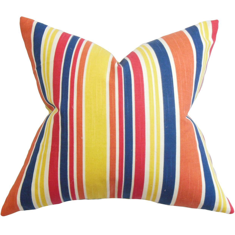 Manila Stripe Cotton Throw Pillow Color: Fiesta, Size: 24