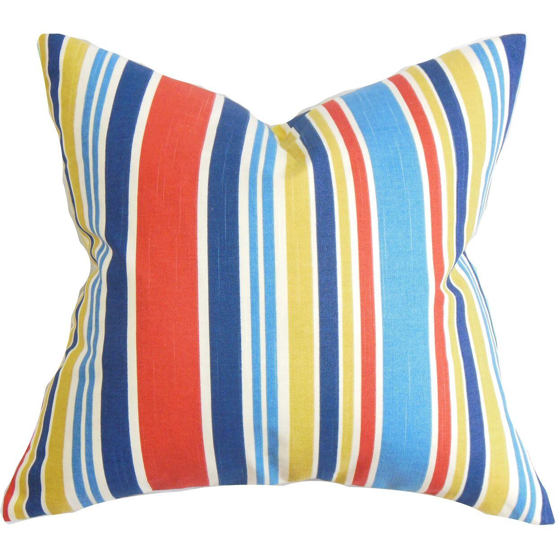 Manila Stripe Cotton Throw Pillow Color: Regatta, Size: 18
