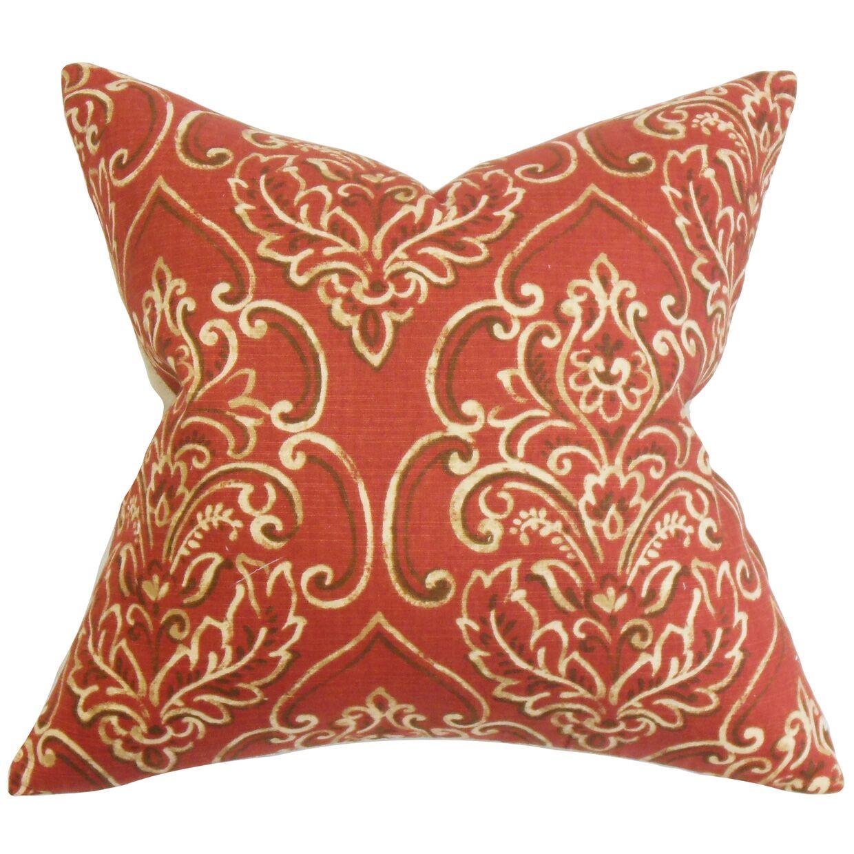 Chancellor Floral Throw Pillow Color: Brick, Size: 24