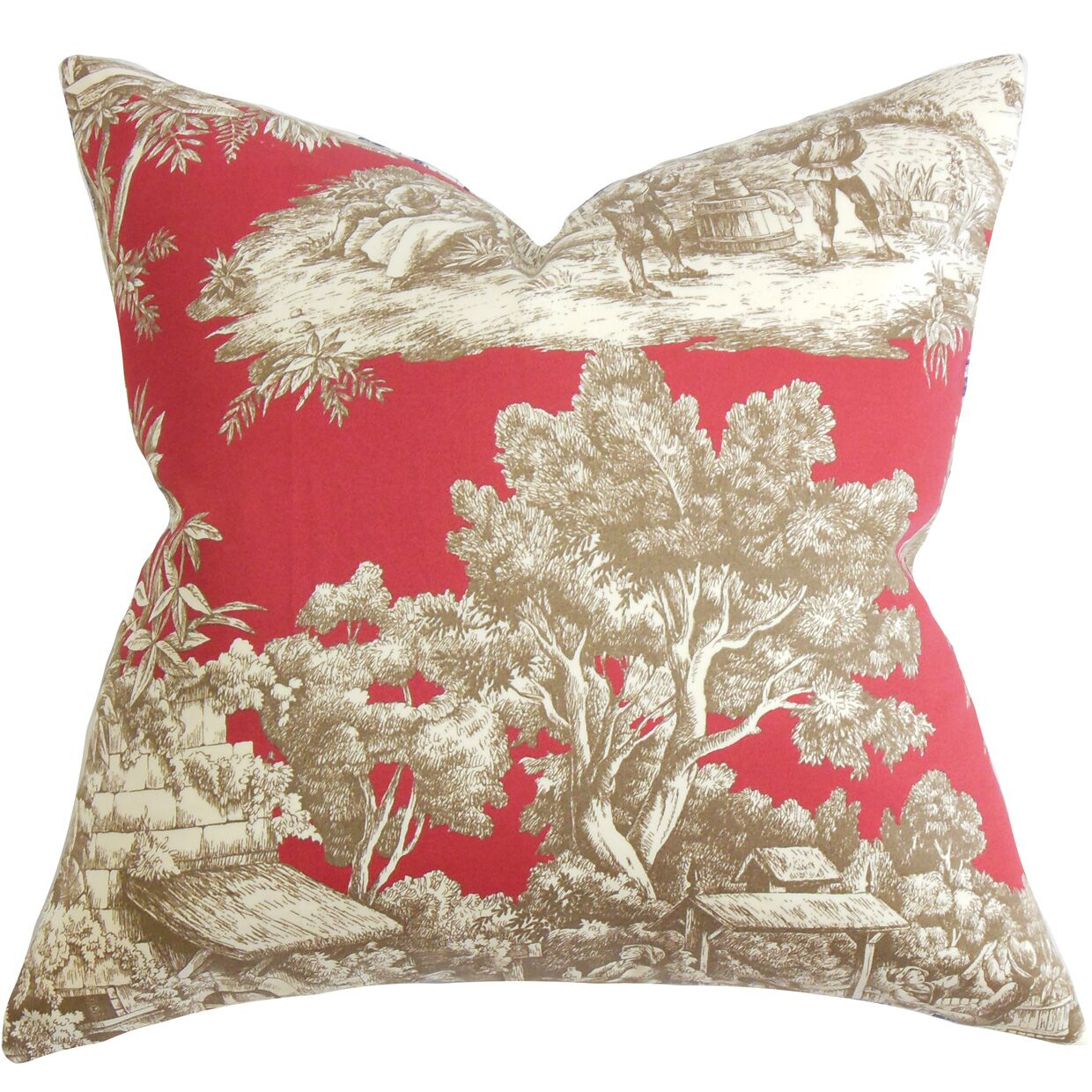 Wellhead Toile Bedding Sham Color: Red, Size: King
