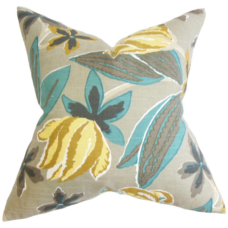Bryleigh Floral Bedding Sham Size: Euro, Color: Gray