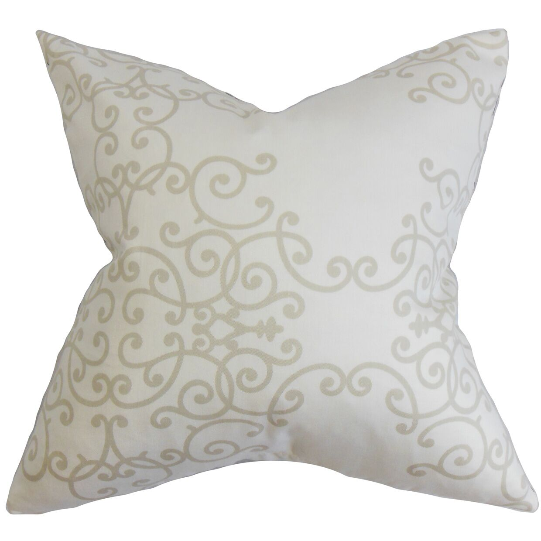 Grimaldi Floral Bedding Sham Size: Queen, Color: White/Gray