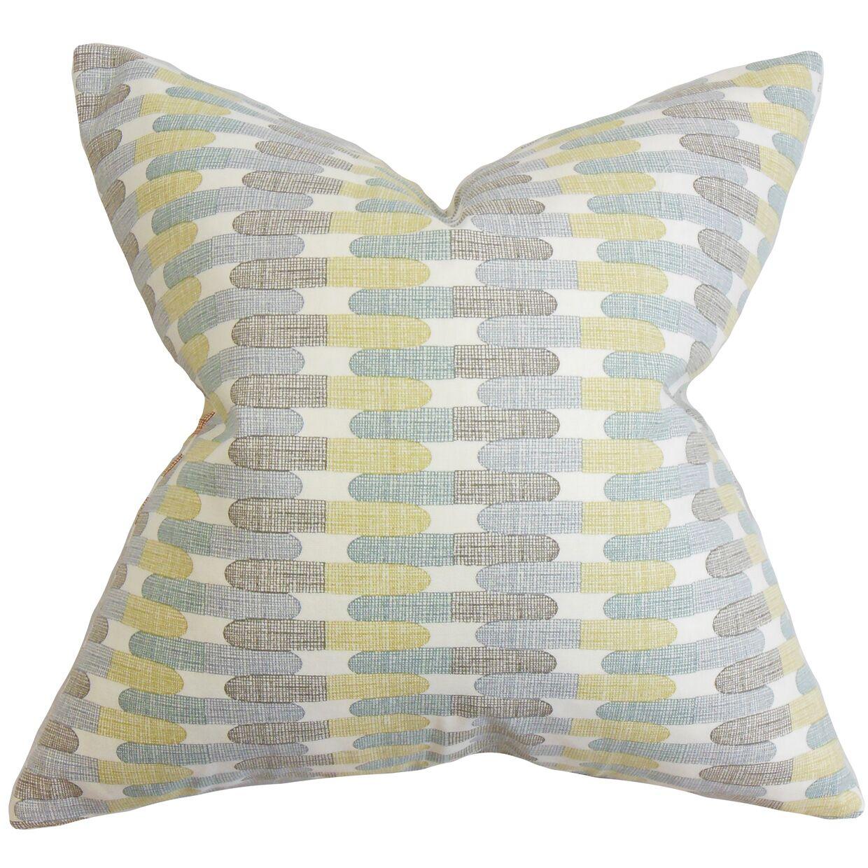 Malus Geometric Cotton Throw Pillow Color: Rain, Size: 24