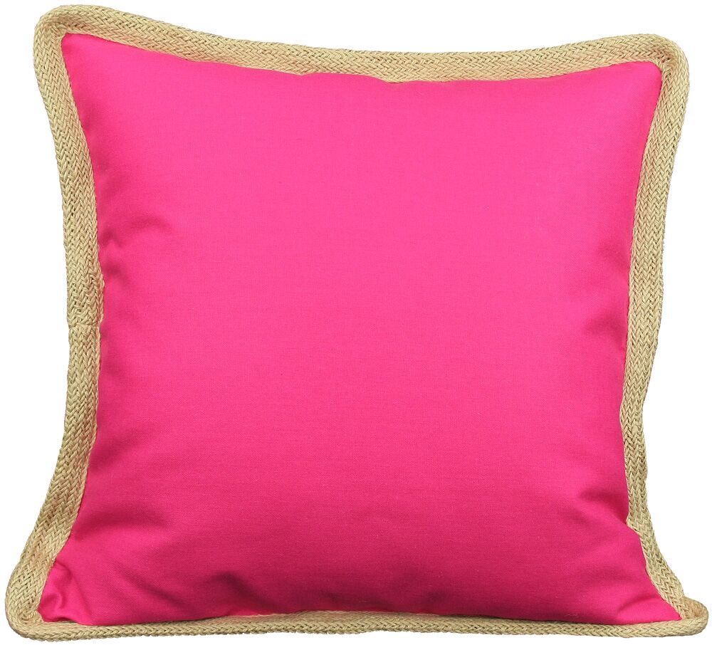 Classic Jute Trimmed Solid Throw Pillow Color: Fuchsia