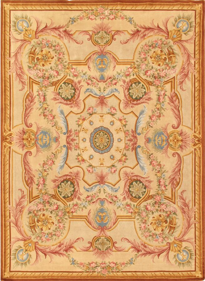 Savonnerie Hand-Knotted Ivory Area Rug