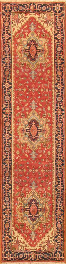 Serapi Tribal Hand-Knotted Wool Red/Navy Area Rug Rug Size: Runner 2'8