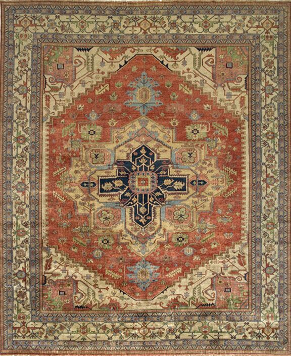 Serapi Handknotted Wool Rust/Ivory Area Rug Rug Size: Rectangle 3'1