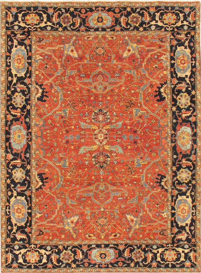 Ferehan Hand-Knotted Wool Rust Area Rug Rug Size: Rectangle 11'10
