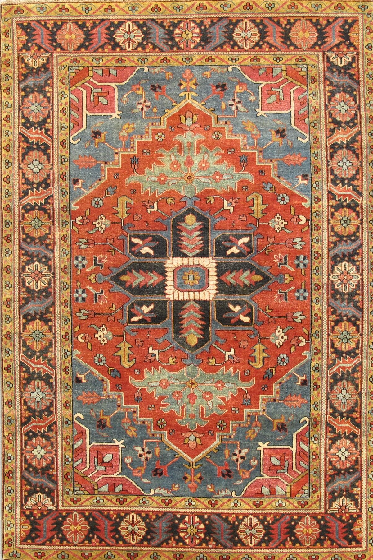 Heriz Hand-Knotted Rust Area Rug Rug Size: 4' x 6'