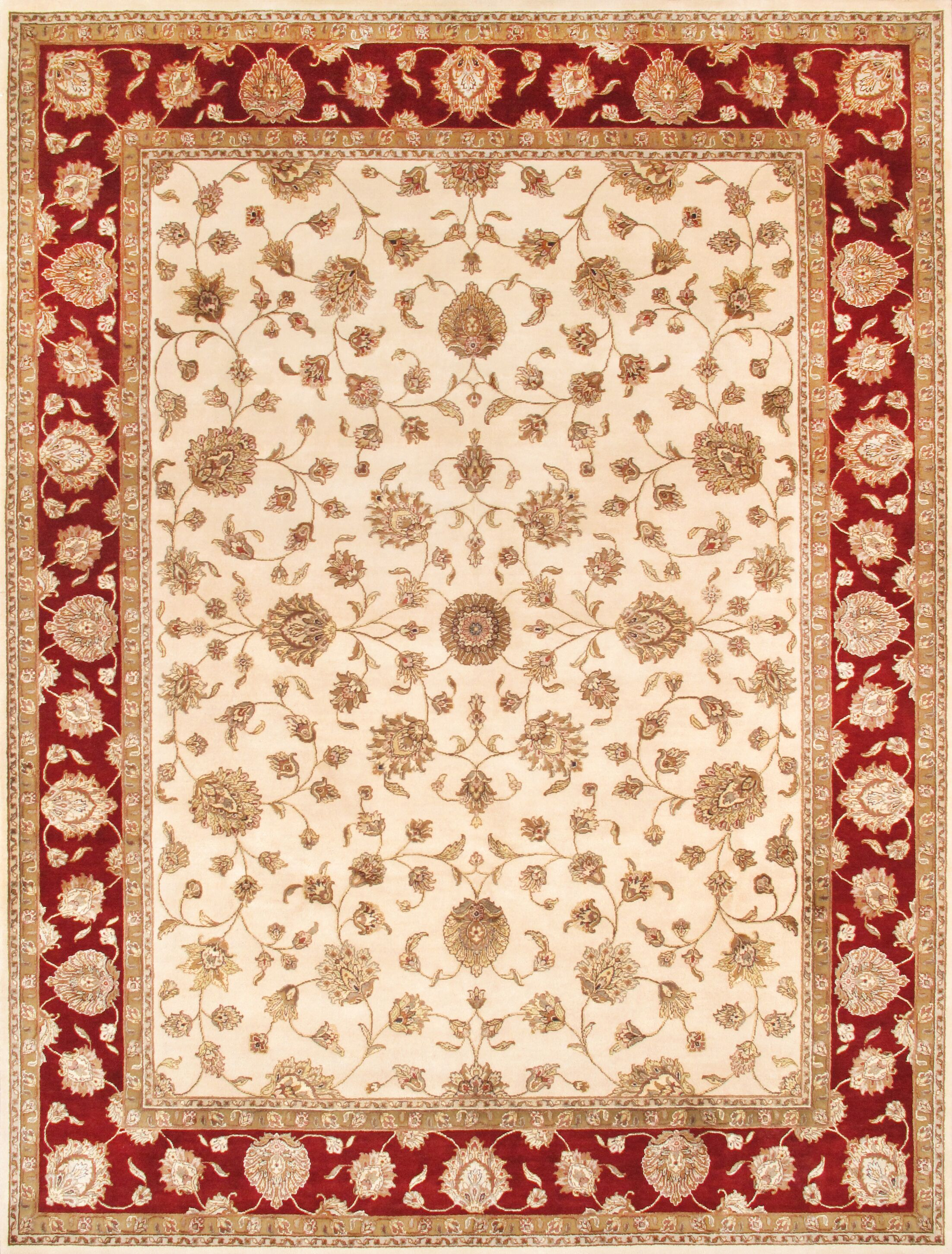 Agra Hand-Knotted Beige Area Rug