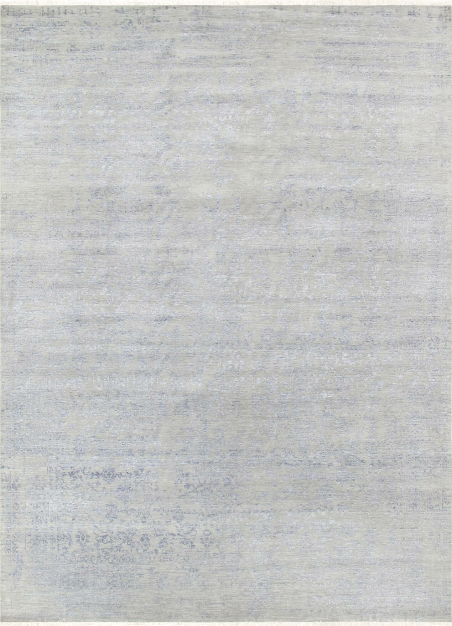 Hand-Knotted Gray Area Rug Rug Size: 9'11